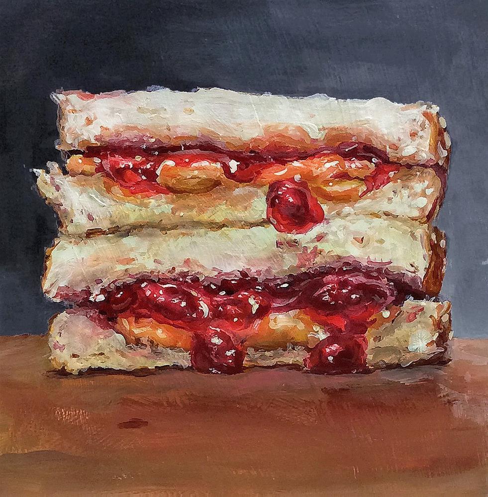"""PB& J E L L Y!  (#29 - Peanut Butter & Jelly Sandwich Painting)"" original fine art by Sunny Avocado"
