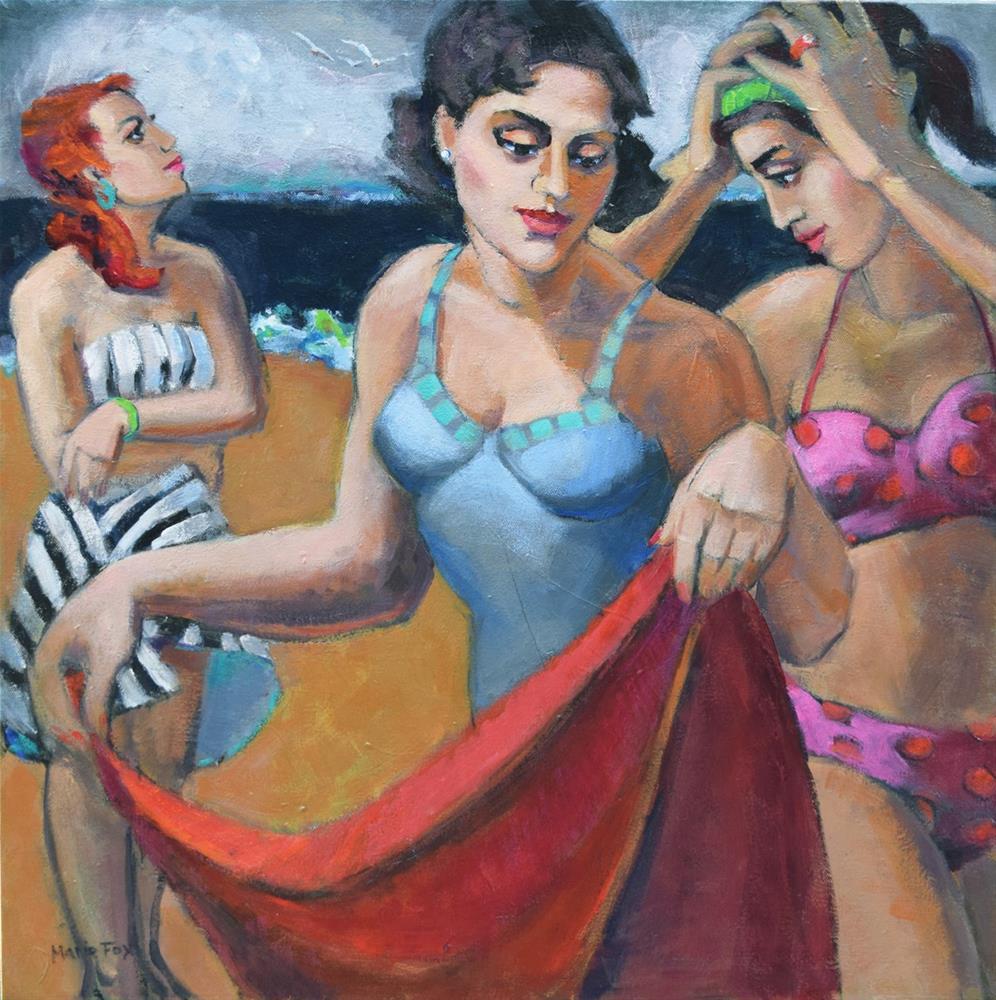 """Three Muses At The Beach, figurative women, The Three Graces, summer, ocean, contemporary figure pai"" original fine art by Marie Fox"