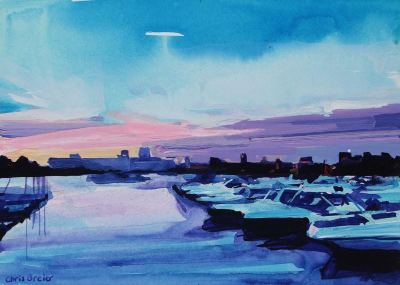 """""""Boat Harbor"""" original fine art by Chris Breier"""