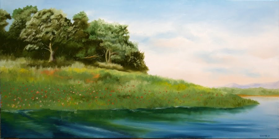 """""""Folsom Lake in the Spring Oil Painting by Northern California Artist Mark Webster"""" original fine art by Mark Webster"""