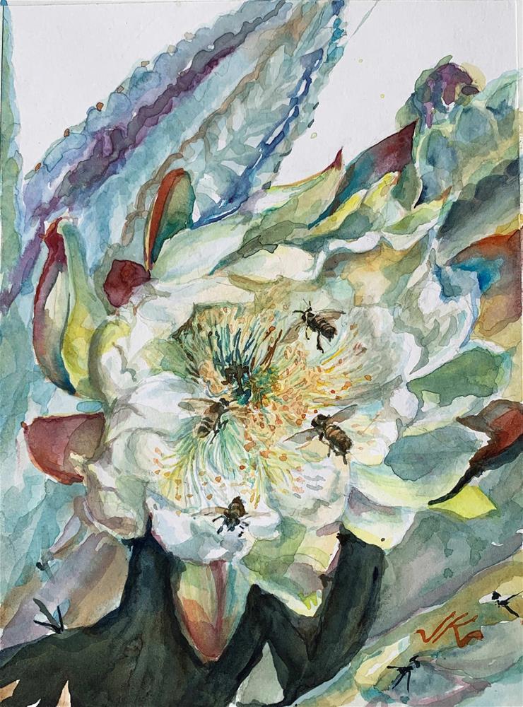 """Bees &  San Pedro Cactus"" original fine art by Jean Krueger"