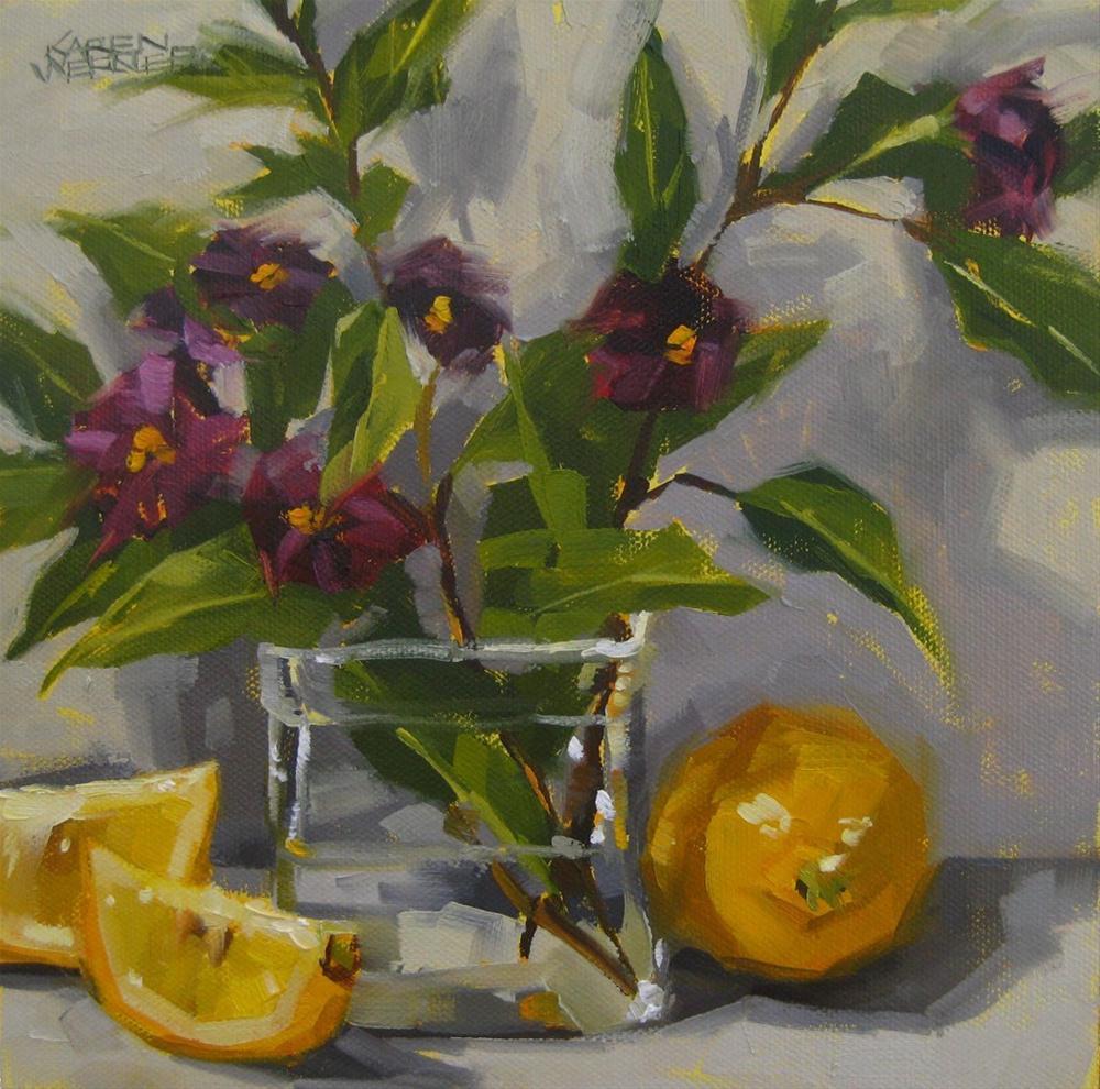 """""""Lovely Lemons"""" original fine art by Karen Werner"""