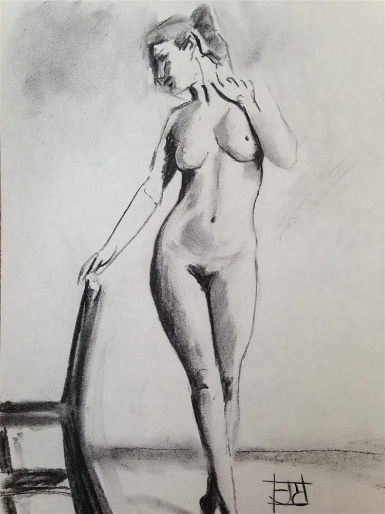 """model with chair"" original fine art by Arron McGuire"