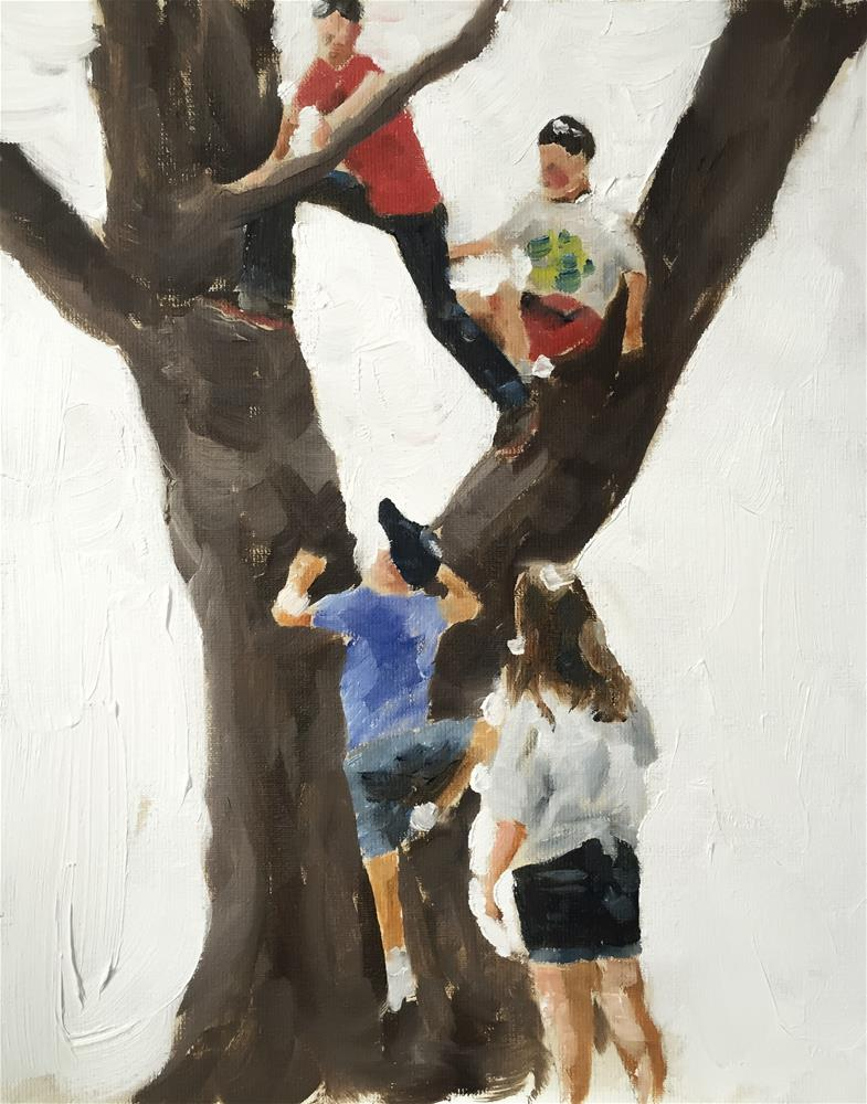 """Tree Climbing"" original fine art by James Coates"