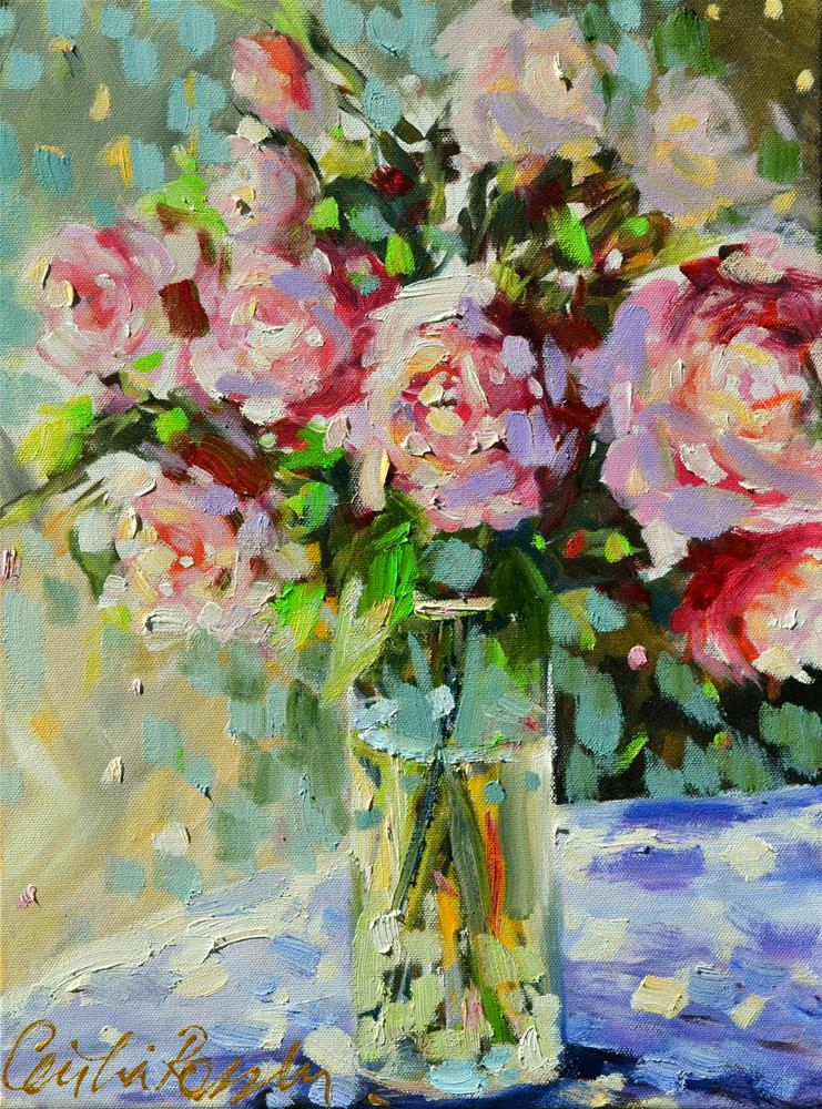 """""""SHABBY CHIC ROSES"""" original fine art by Cecilia Rosslee"""