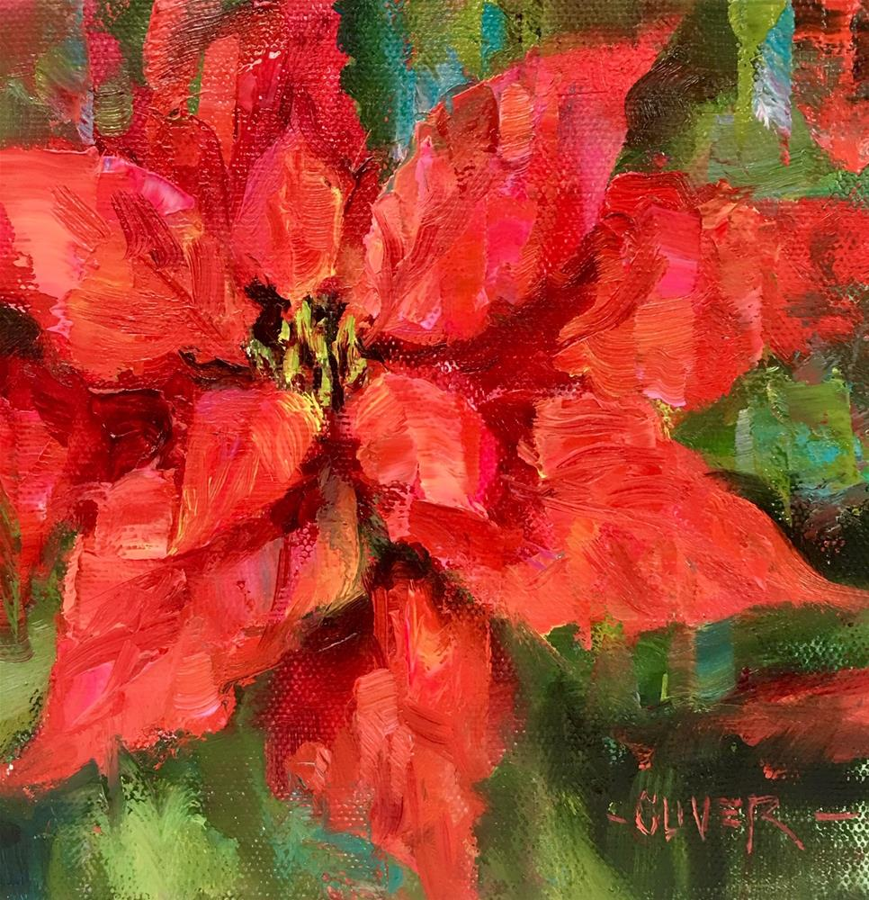 """Poinsettia"" original fine art by Julie Ford Oliver"