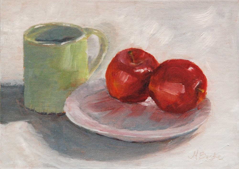 """Mugging for Apples"" original fine art by Mary Benke"