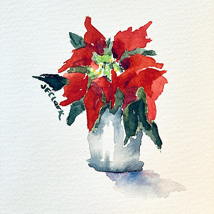 """Tiny Pointsettia"" original fine art by Judith Freeman Clark"