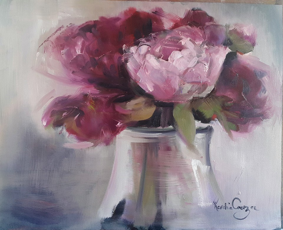 """Peonies from my garden"" original fine art by Rentia Coetzee"