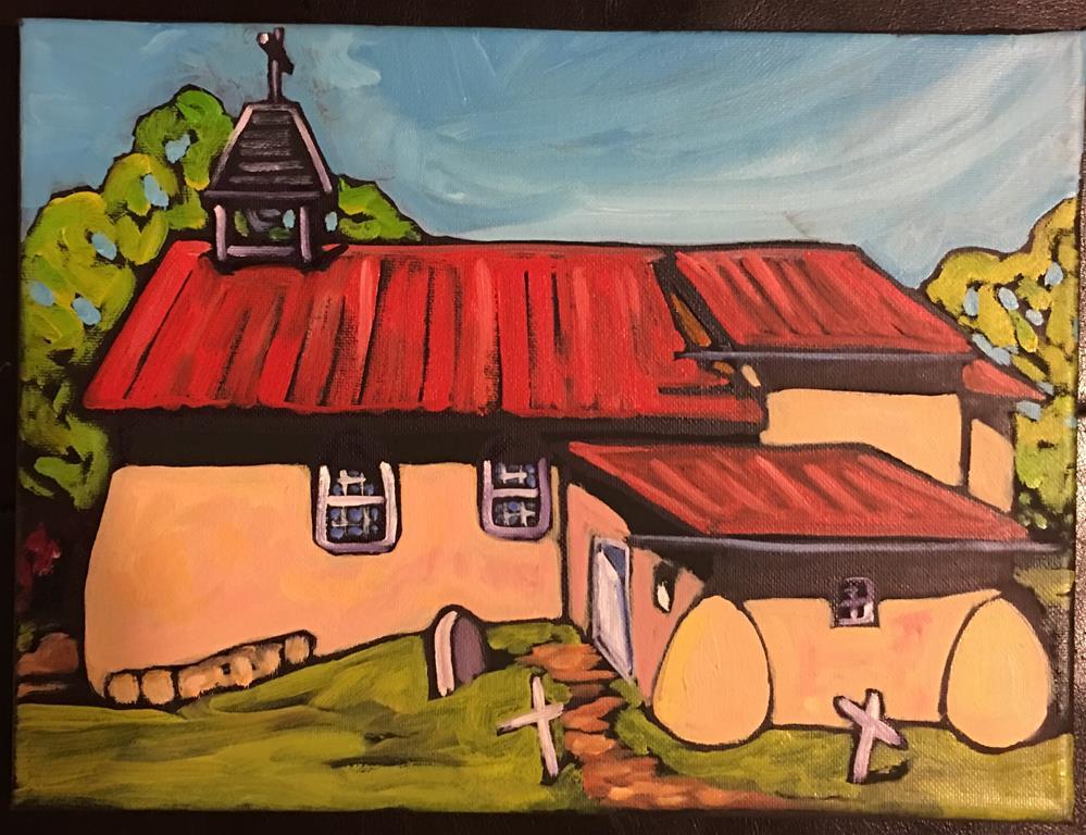 """""""Arroyo Seco Church"""" original fine art by Robyn Wellman"""