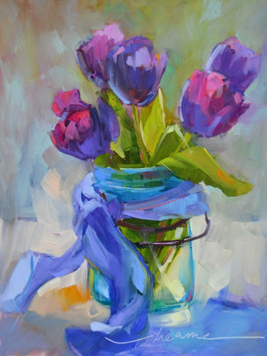 """""""Cottage Tulips and A Perfectly Beautiful NOW"""" original fine art by Dreama Tolle Perry"""