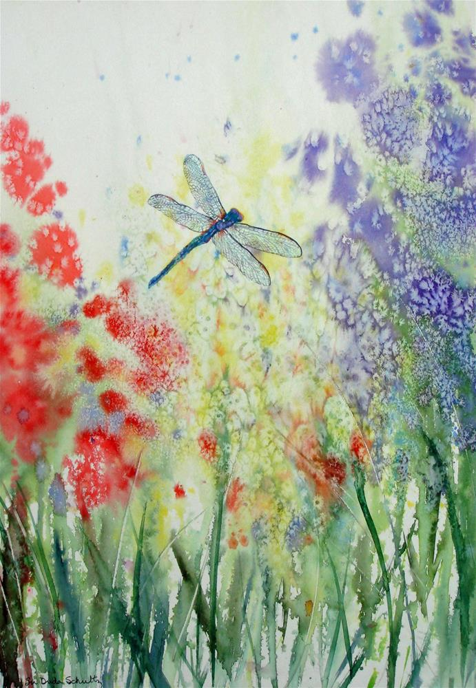 """Iridescent Dragonfly Dances Among the Blooms"" original fine art by Susan Duda"