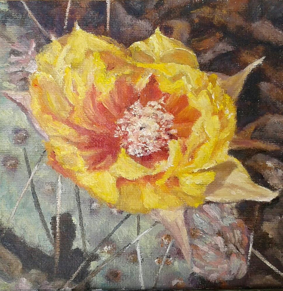 """Prickly Pear Cactus Flower"" original fine art by Candi Hogan"