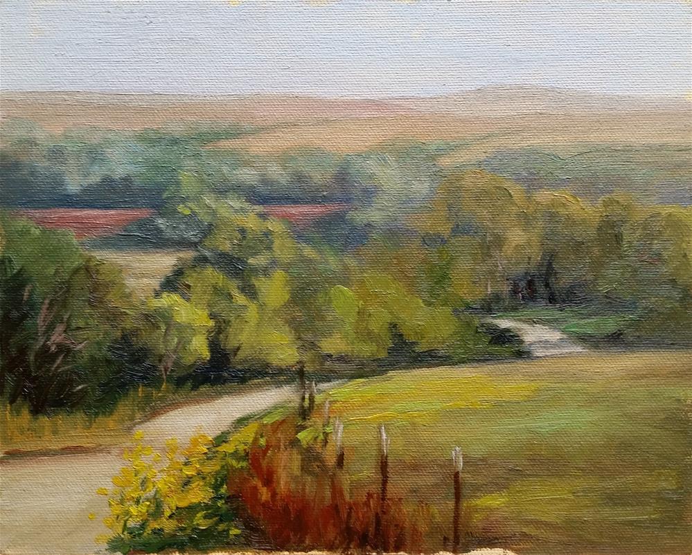 """Silver Creek Rd-Flint Hills-en plein air"" original fine art by Veronica Brown"
