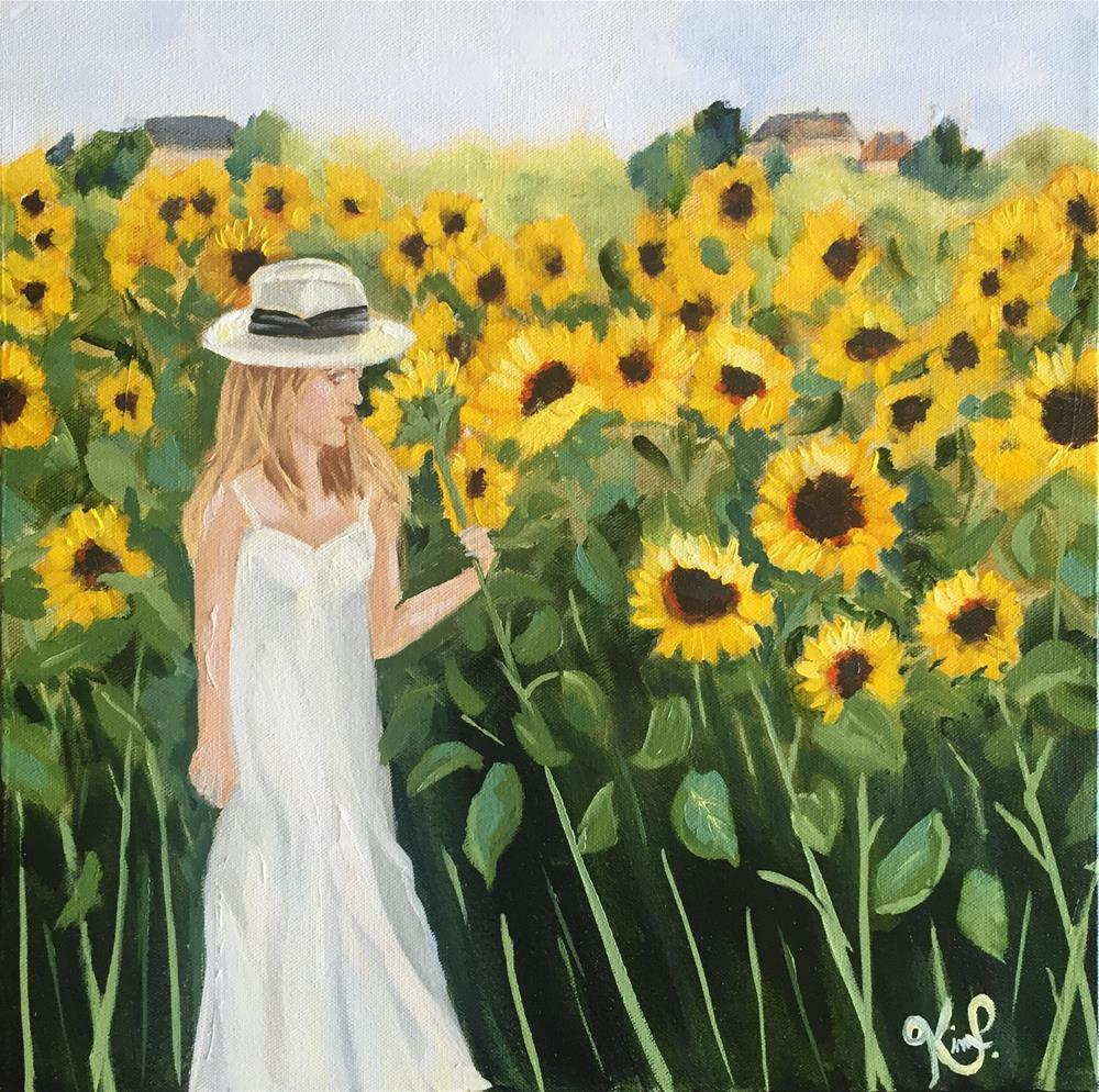 """Standing in a field of sunflowers "" original fine art by Kim Peterson"
