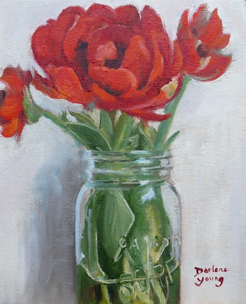 """Big Red Tulips in a Mason Jar"" original fine art by Darlene Young"