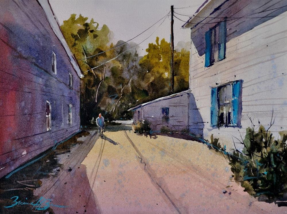 """""""Alley Shadows"""" original fine art by Brienne M Brown"""