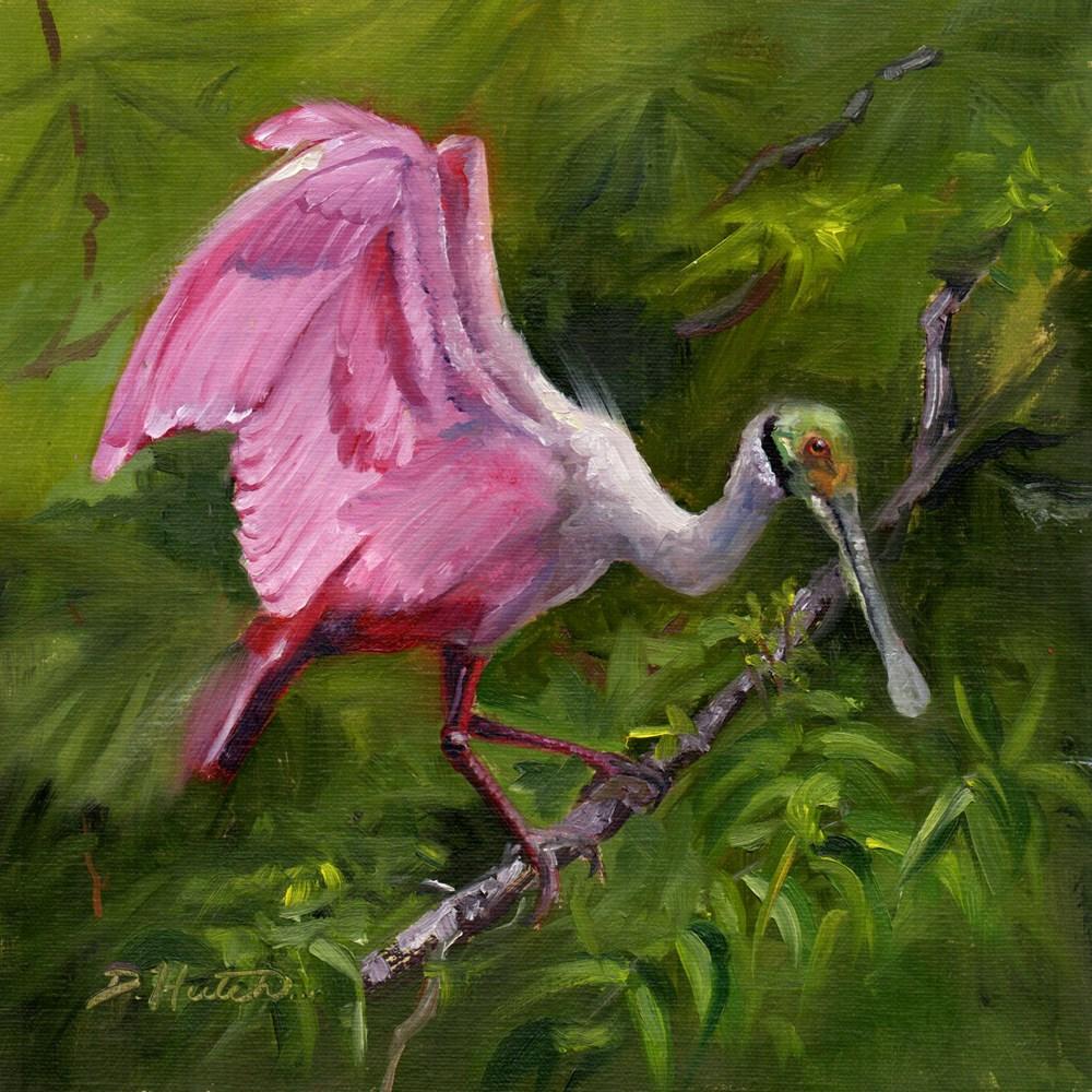 """Roseate Spoonbill #2"" original fine art by Diane Hutchinson"