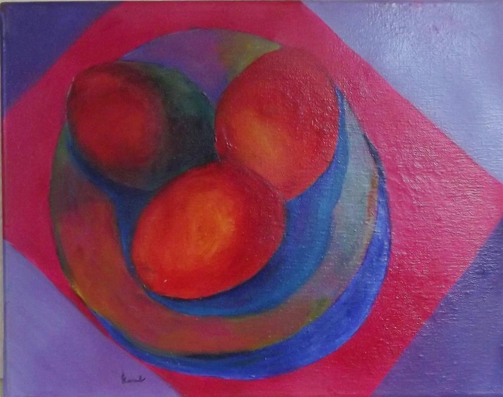 """Three mangoes"" original fine art by Elizabeth Current"
