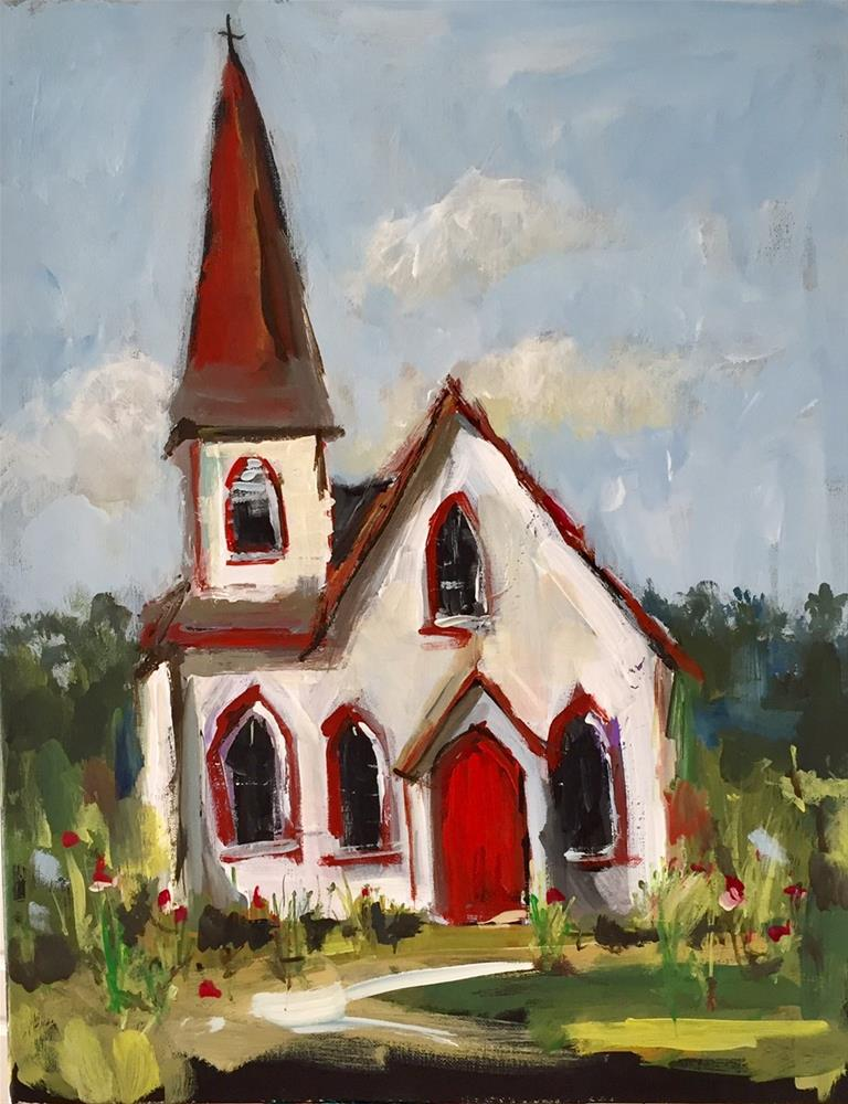 """""""The Red Door of Fellowship"""" original fine art by Marcia Hodges"""