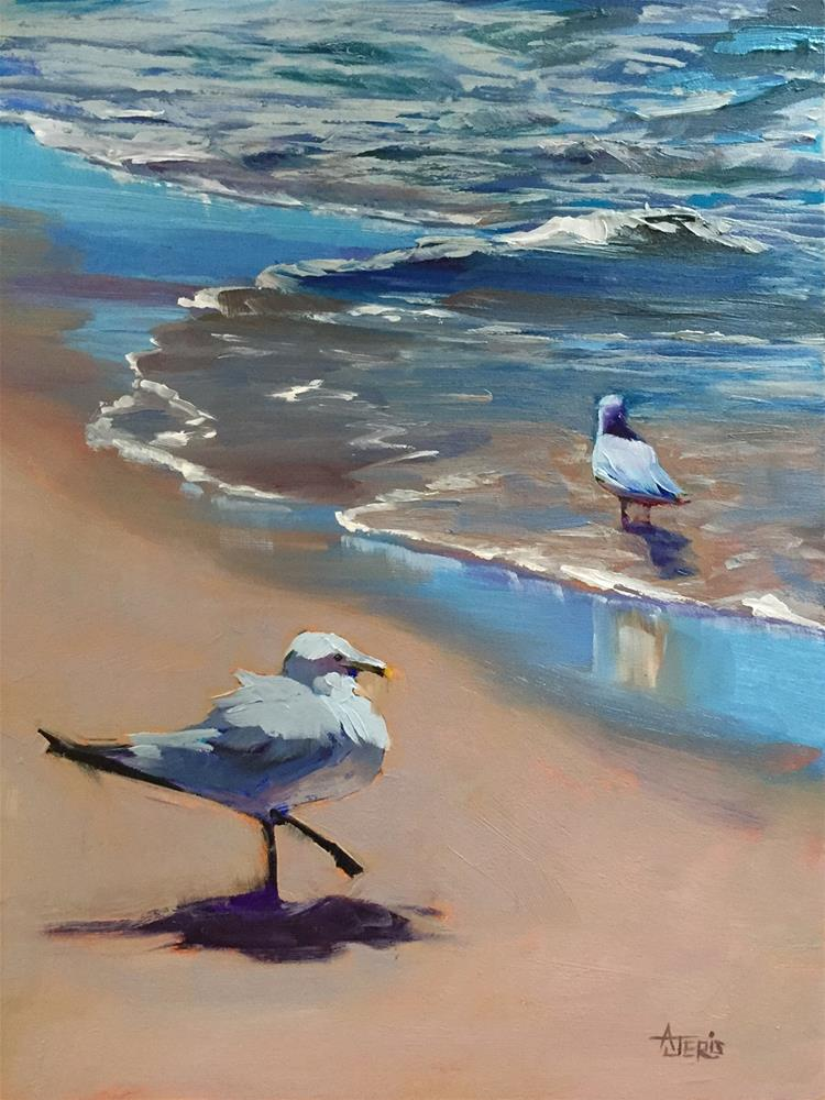 """Seagull Flirting"" original fine art by Andrea Jeris"