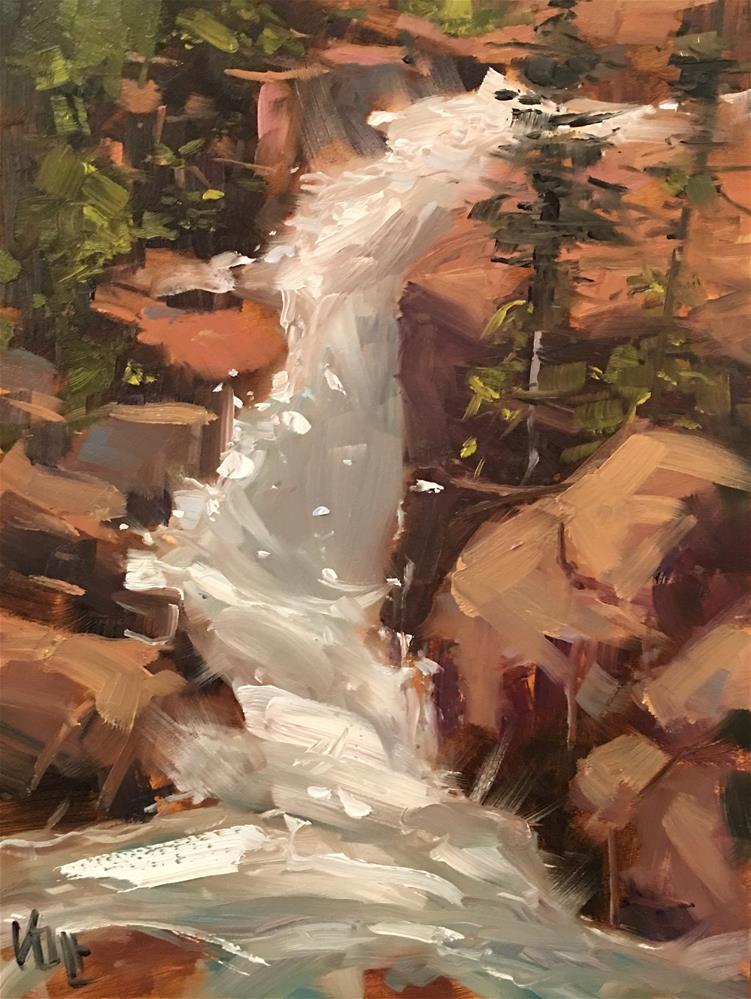 """#395 Colorado Waterfall"" original fine art by Patty Voje"