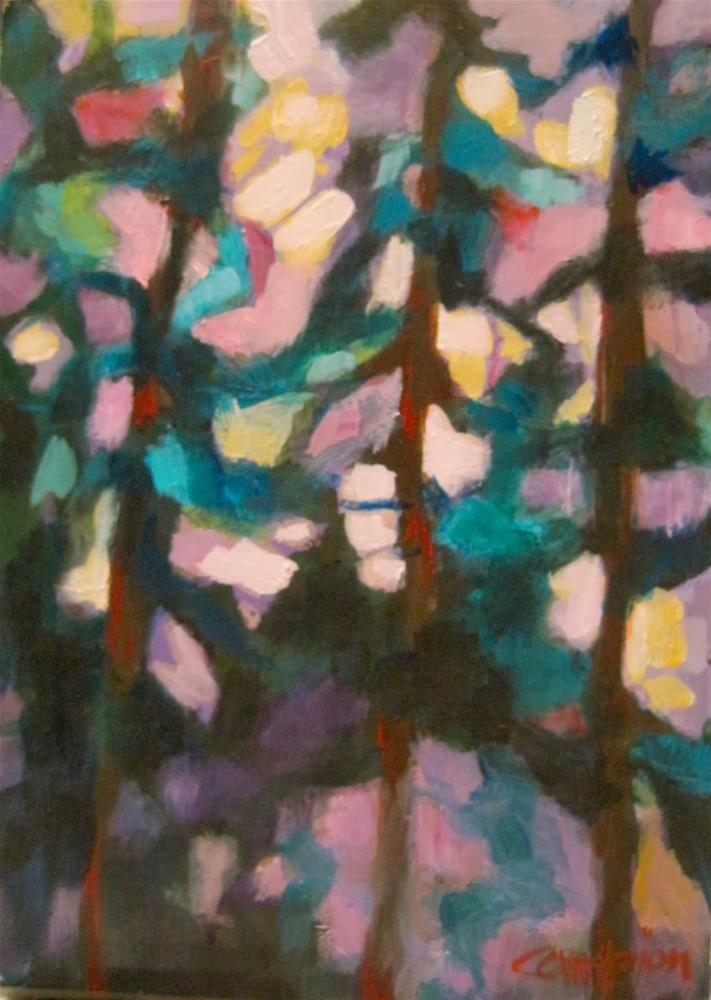"""273.  After the Storm:  Three Pine Trees in Michigan"" original fine art by Diane Campion"