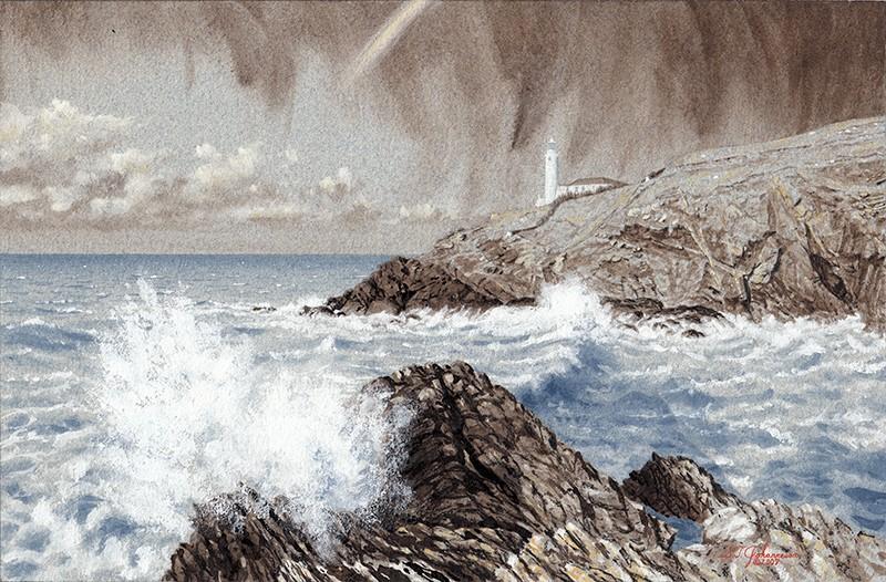 """""March Showers passing Trevose Head Light"""" original fine art by Steven Thor Johanneson"
