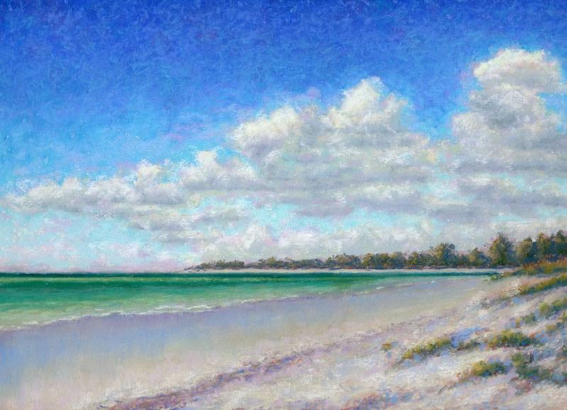 """Gulf Coast Beach Art Fort DeSoto North Beach Painting"" original fine art by Nancy Poucher"