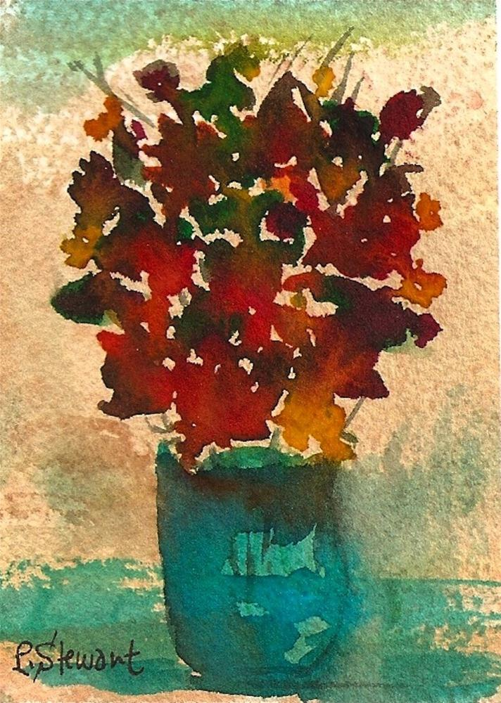 """""""ACEO Fall Leaves in a Vase Floral"""" original fine art by Penny Lee StewArt"""