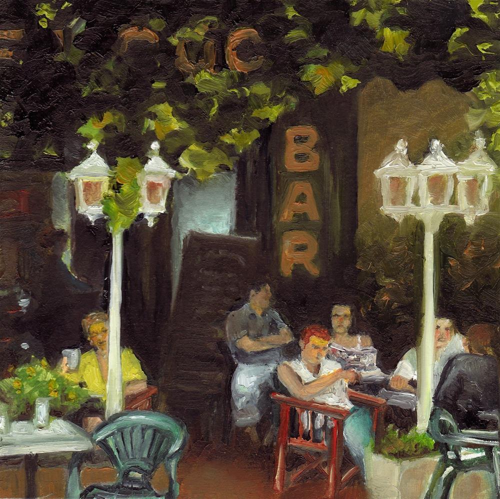 """Café on the Riviera"" original fine art by Anne Ducrot"