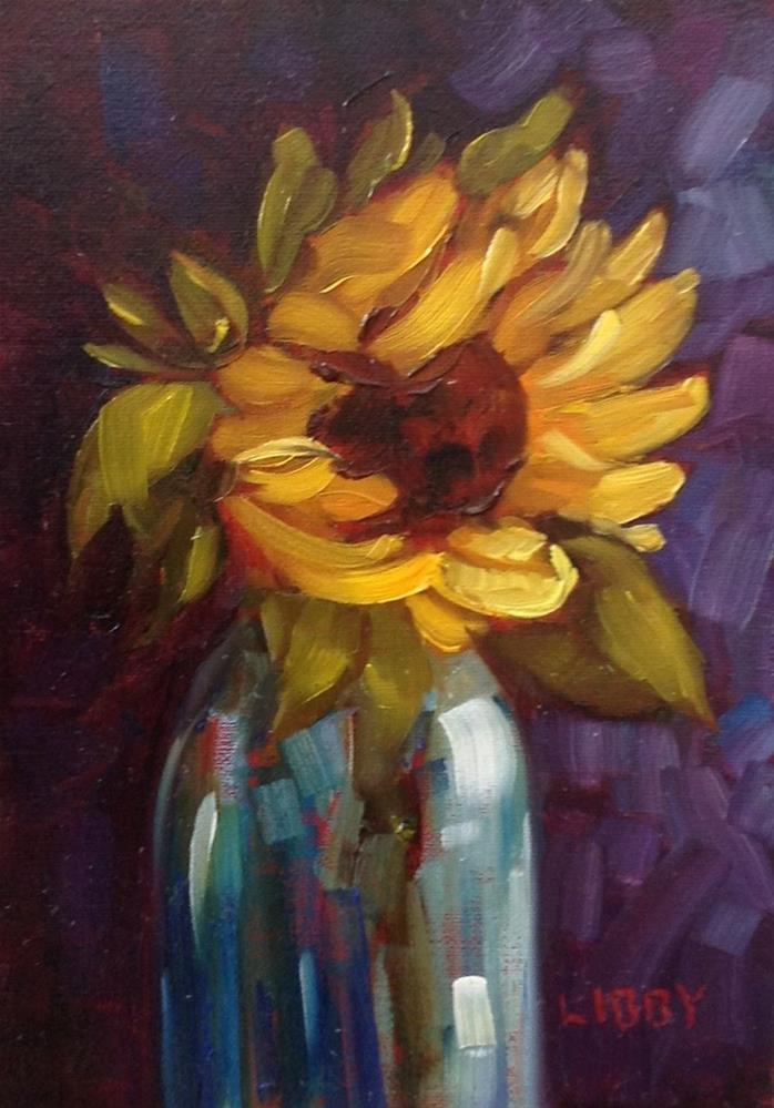 """Single Sunflower"" original fine art by Libby Anderson"