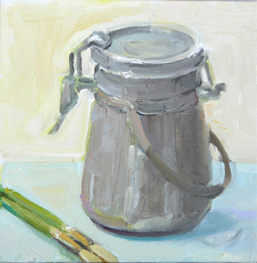 """""""Turp Can and Brushes,still life,oil on canvas,6x6,price$150"""" original fine art by Joy Olney"""