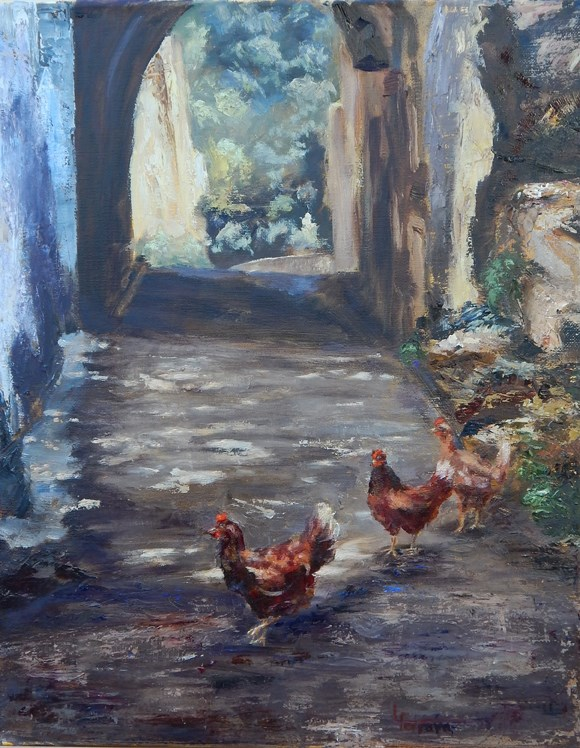 """Crossing the Road in Gete"" original fine art by Lina Ferrara"
