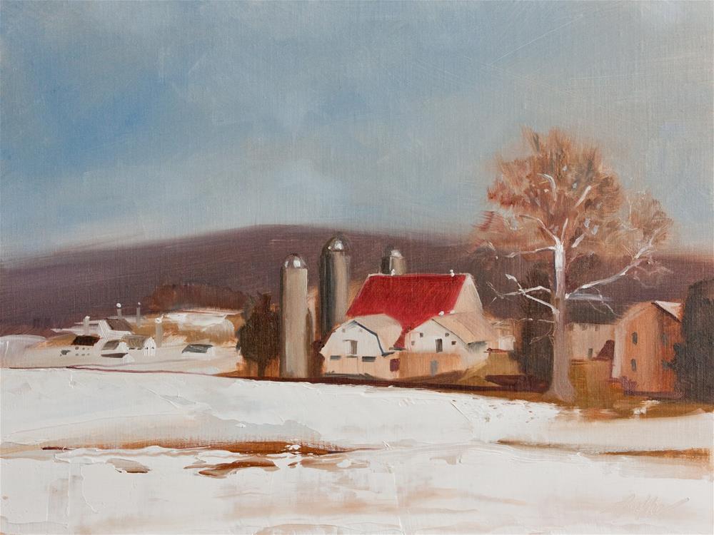 """Red Roof"" original fine art by Beth Bathe"