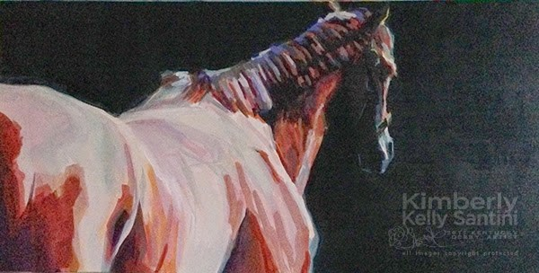 """""""Dark Brown or Bay, In Process, and a pARTy"""" original fine art by Kimberly Santini"""