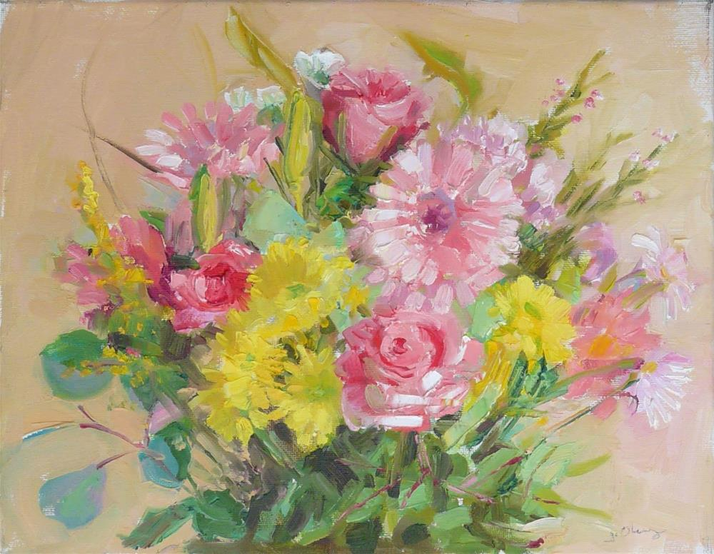 """Happy Flowers,still life,oil on canvas,11x14,price$225"" original fine art by Joy Olney"