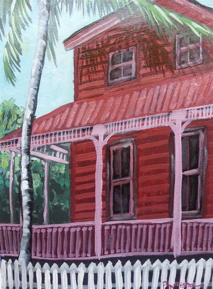 """Conch House in Red"" original fine art by Phyllisha Hamrick"