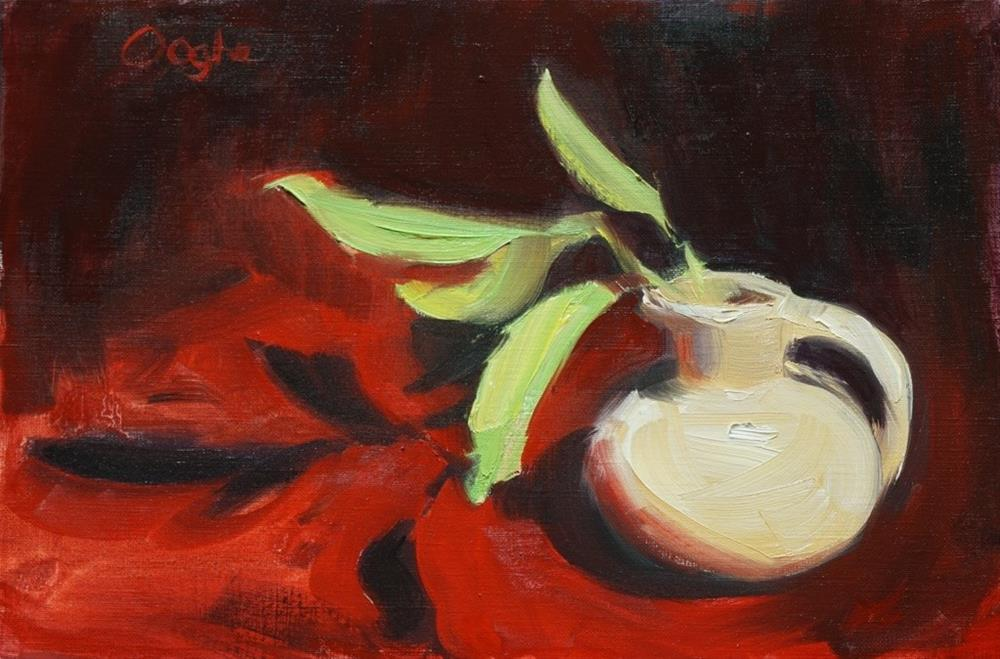 """""""Small Pitcher with Leaves"""" original fine art by Angela Ooghe"""