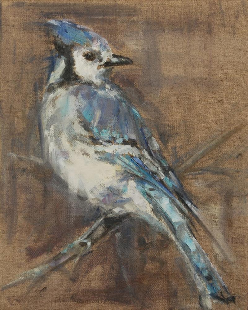 """""""Blue Jay, Bird, Original oil by Carol DeMumbrum"""" original fine art by Carol DeMumbrum"""