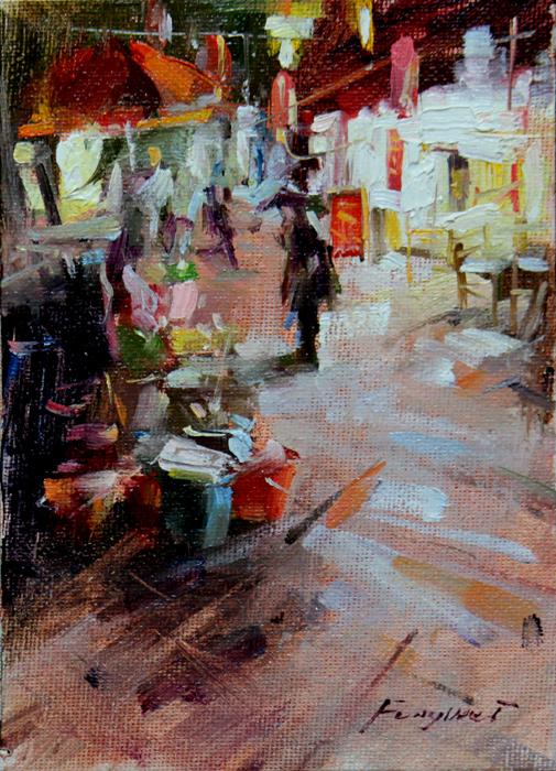 """""""Night Market (Shuhe old town)"""" original fine art by Fongwei Liu"""