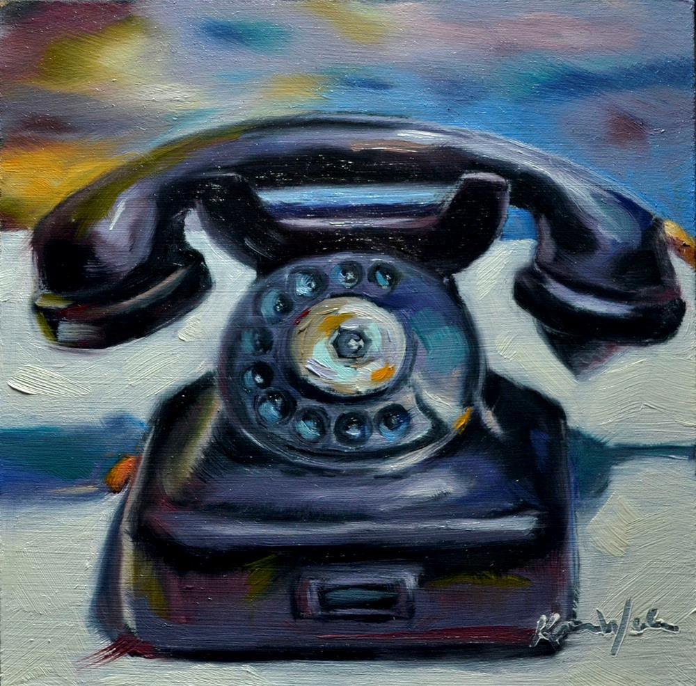 """Vintage Phone"" original fine art by Karen Weber"