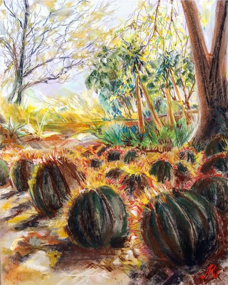 """Mexican Fire  Barrel Cactus"" original fine art by Jean Krueger"