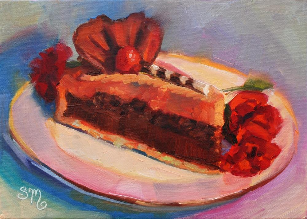 """""""No. 766 Truffle Tart French Pastry with Carnations"""" original fine art by Susan McManamen"""
