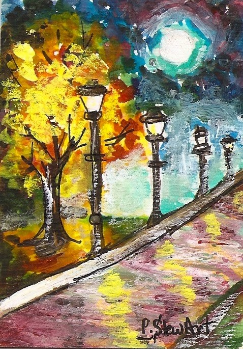 """""""ACEO Street Lamps Night Park WC Pen Moon Landscape Painting Penny StewArt"""" original fine art by Penny Lee StewArt"""