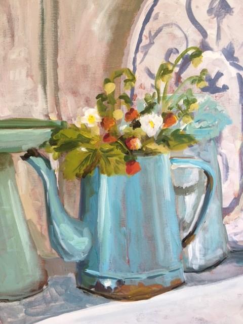 """Coffee Pot Strawberries"" original fine art by Susan Elizabeth Jones"