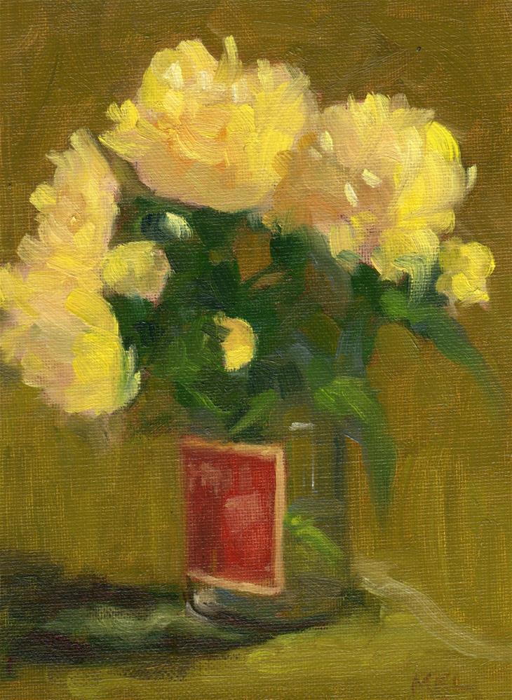 """Yellow Dahlias"" original fine art by Marlene Lee"