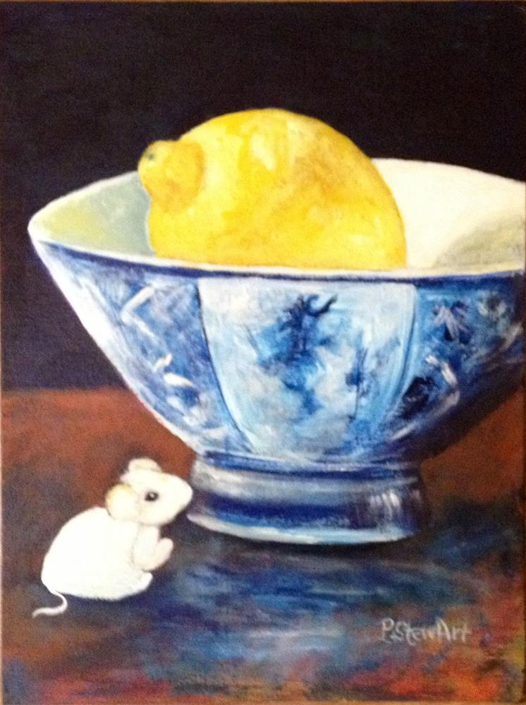 """12x16 Lemon in Rice Bowl with Mouse Acrylic on Canvas Board Penny StewArt"" original fine art by Penny Lee StewArt"