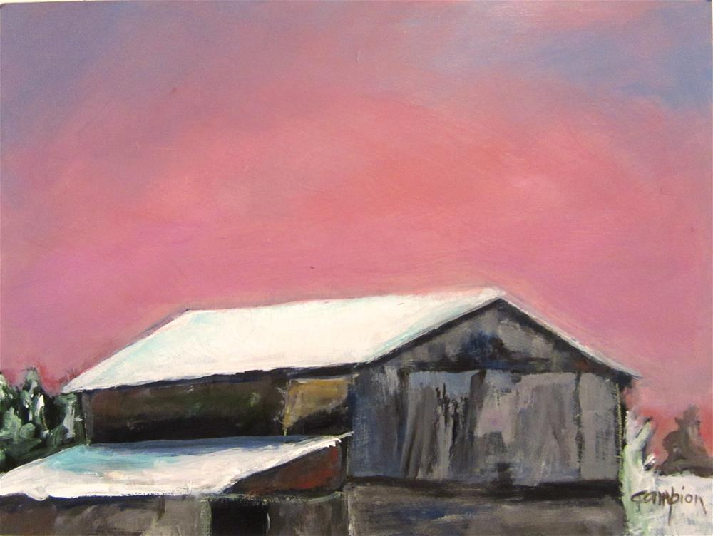 """509 Snow on the Rooftop"" original fine art by Diane Campion"