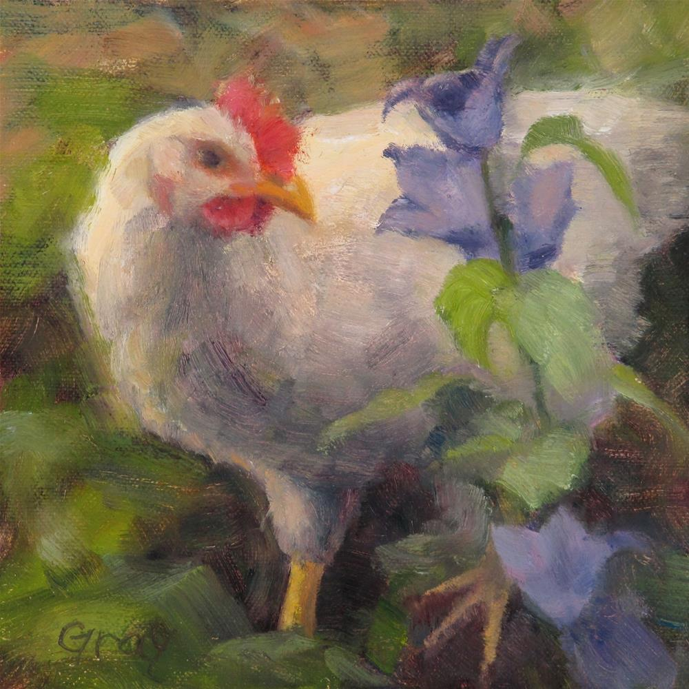 """Sophie and Bellflowers"" original fine art by Naomi Gray"